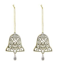 Gold Bell Shaped Hanging Ornaments with Swirl Design & Hanging Detail - 2 x 12cm