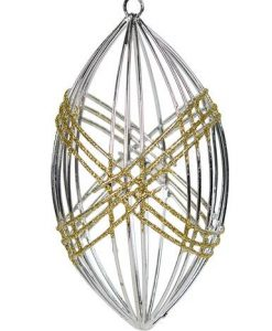 Silver Open Wire Olive Shaped Hanging Ornament with Gold Glitter Highlights - 12cm