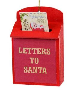 Red Letter to Santa Mailbox Hanging Ornament - 9cm