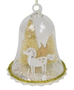 Clear Bell Hanging Ornament with Gold Trees & Unicorn - 12cm