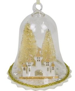 Clear Bell Hanging Ornament with Gold Trees & Castle - 12cm
