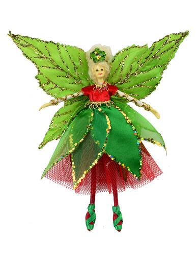 Christmas Fairy Hanging Ornament in Green & Red - 18cm
