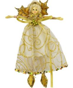 Fairy Hanging Ornament with Gold Wings & Gold Swirl Print - 15cm
