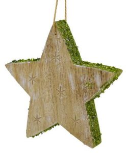 Wood Star Hanging Ornament with Green Glitter Trim and Carved Star Print - 12cm