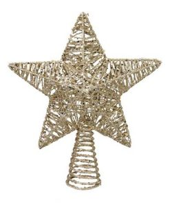 Star Tree Topper in Gold Glitter with Warm White Lights - 30cm