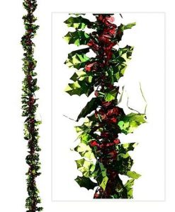 Holly Themed Tinsel Garland - 2.7m