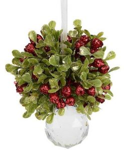 Green & Red Mistletoe Cluster With Clear Base Hanging Ornament - 12cm