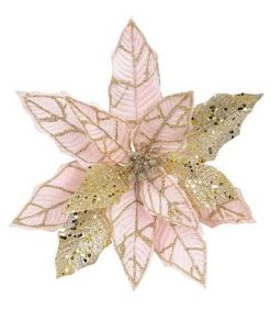 Blush Pink Poinsettia Pick With Gold Glitter Detail & Clip - 25cm