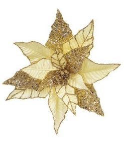 Gold Poinsettia Pick With Gold Glitter Detail& Clip - 25cm