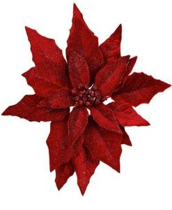 Deep Red Poinsettia Pick With Glitter And Clip - 28cm