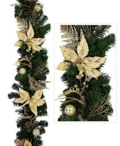 Classic Gold & Champagne Pre Decorated Garland With Poinsettias