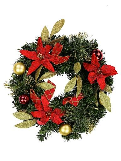 Red & Gold Wreath with Poinsettias