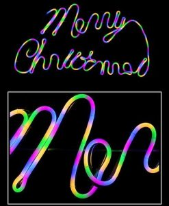 Merry Christmas Neon Rope Light in Neon Red - 75cm