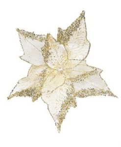 Soft Gold Poinsettia Pick With Clip On & Diamante Detail - Large