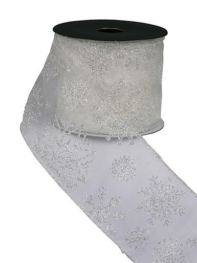 Sheer White Ribbon With White Glitter Snowflake Print - 3m