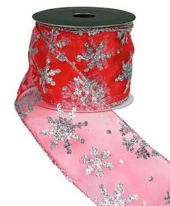 Sheer Red Ribbon With Silver Glitter Snowflake Print - 3M