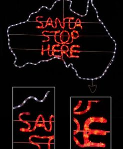 Australian Map - Santa Stop Here Rope Light in Cool White & Red - 1.1m