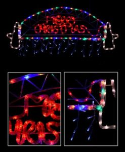 Sydney Harbour Bridge with Merry Christmas Sign & Icicles Rope Light - 95cm