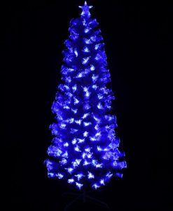White Christmas Tree with LED Fibre Optics in Blue & Cool White - 1.8m