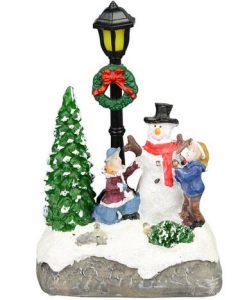 Illuminated Snowman With Children Street Scene With Led Lights - 13cm