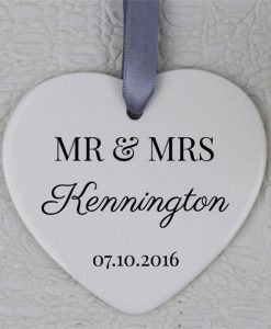 Mr & Mrs Wedding Day Heart Ornament