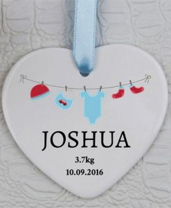 Baby Boy Arrives Heart Ornament