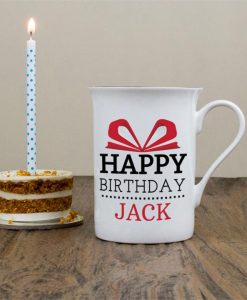Personalised Happy Birthday Bone China Mug