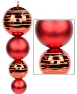 Red Metallic & Red Matte Finial with Gold Glitter Stripes - 45cm
