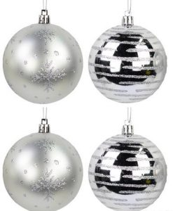 Gloss Silver Baubles with Glitter Lines and Matte Silver with Glitter Snowflake Print 8 x 80mm