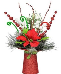 Red Glittered Top Hat Base Table Top Decoration with Poinsettia - 40cm