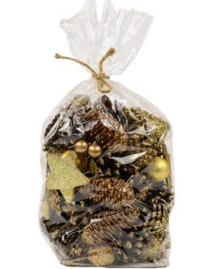 Bag of Decorative Gold Pine Cones With Stars & Baubles - 12cm