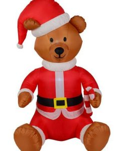 Sitting Teddy Bear In Santa Suit Inflatable - 1.5m