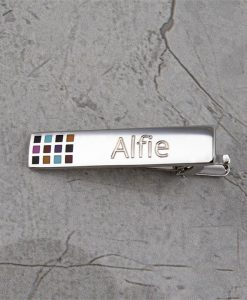 Coloured Engraved Tie Bar