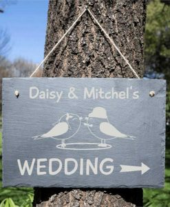 Wedding Direction Personalised Slate Sign