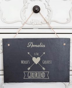 World's Greatest Girlfriend Personalised Slate Sign