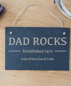 Dad Rocks Personalised Slate Sign