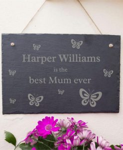 Best Mum Ever Personalised Butterfly Slate Sign
