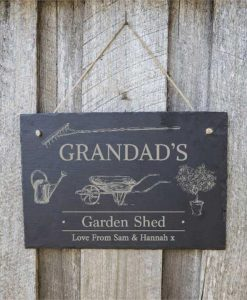 Grandpa's Garden Shed Personalised Slate Sign
