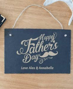 Happy Father's Day Moustache Personalised Slate Sign