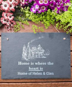 Home Is Where Heart Is Personalised Slate Sign