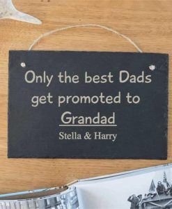 Promoted to Grandad Personalised Slate Sign
