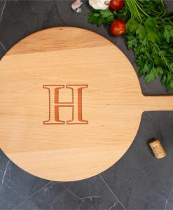 Monogram Round Wooden Serving Board