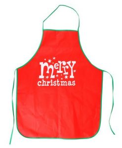 ' Merry Christmas ' With Stars Red Polyester Apron - 1 Size Fits Most