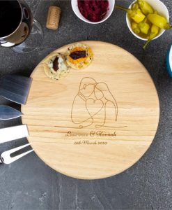 Outlined Couple Personalised Cheese Board