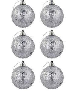 Silver Glitter & Star Covered Baubles - 6 x 60mm