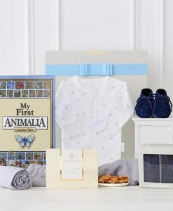 Embroidered Initial Baby Boy Shoes Hamper in Navy