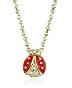 Mini Gold Ladybug Necklace with Swarovski® Crystals
