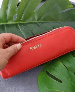 Personalised Blood Orange Saffiano Leather Pencil Case