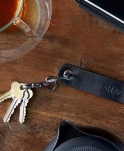 Personalised Black Leather Terrain Clip Keyring
