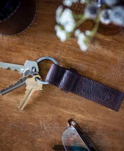 Personalised Brown Leather Buckle Strap Keyring